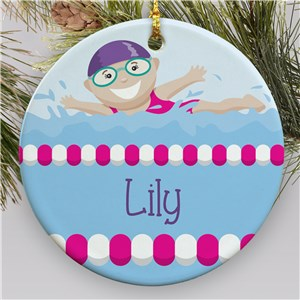 Personalized Girl Swimmer Ornament | Kids Christmas Ornaments