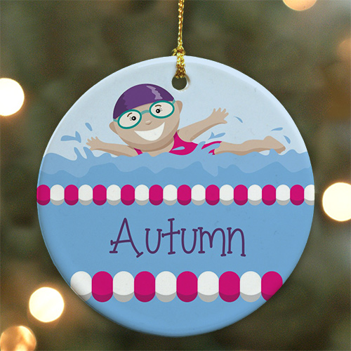 Personalized Ceramic Swimmer Ornament U717410