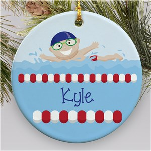 Personalized Swimming Ornament for Boys | Kids Christmas Ornaments