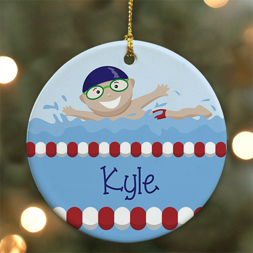 Personalized Ceramic Boy Swimmer Ornament U717510