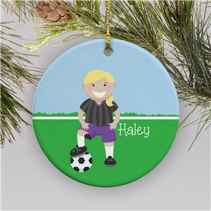 Personalized Girl Soccer Ornament | Ceramic | Personalized Soccer Ornaments