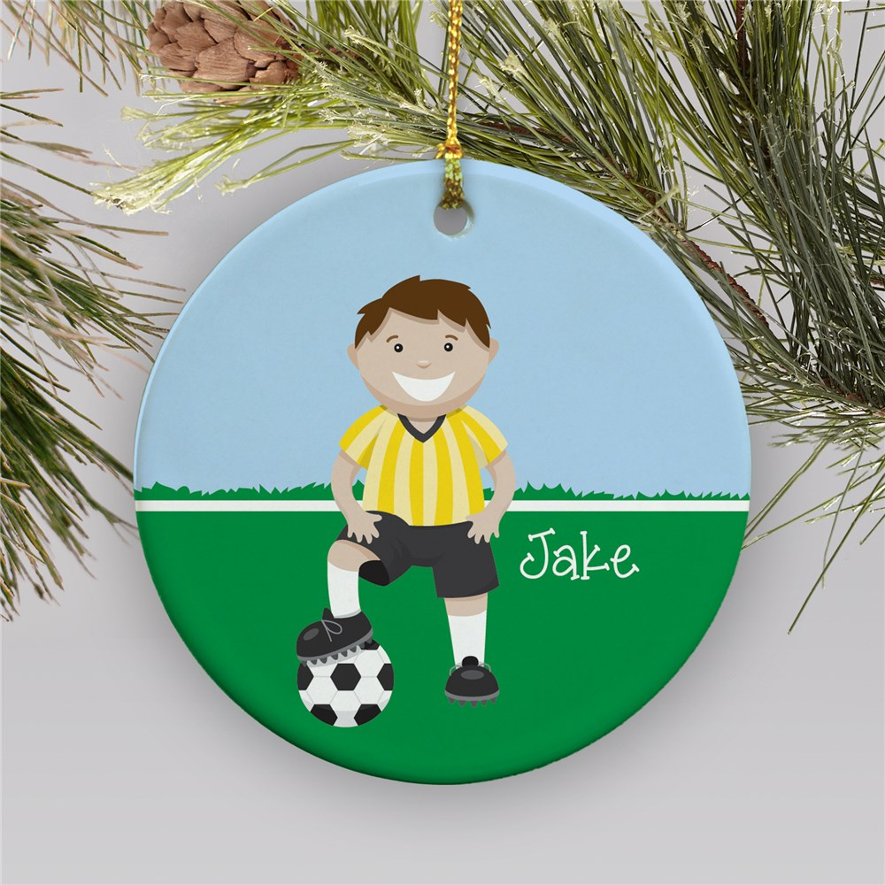 Personalized Ceramic Boy Soccer Ornament | Personalized Soccer Ornaments