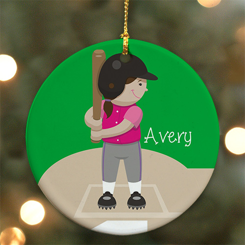 Personalized Softball Ornament | Ceramic | Kids Christmas Ornaments