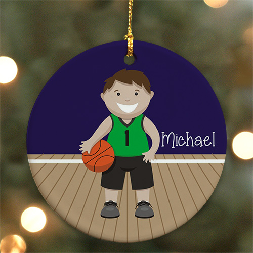 Personalized Ceramic Boy Basketball Ornament | Personalized Basketball Ornament