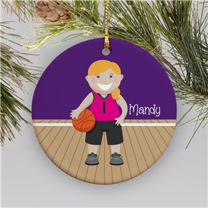Personalized Girl Basketball Ornament | Ceramic | Personalized Basketball Ornament