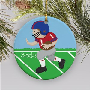 Personalized Ceramic Football Ornament | Personalized Football Christmas Ornaments