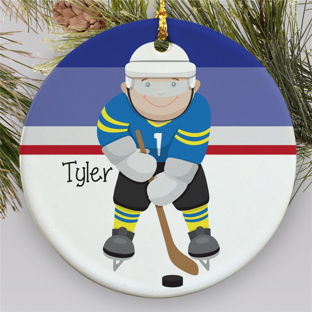 Personalized Ceramic Hockey Ornament | Personalized Hockey Ornaments