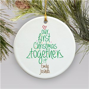 Personalized Ceramic First Christmas Ornament | Personalized Couples Ornament