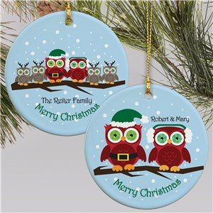 Personalized Ceramic Owl Family Ornament | Personalized Family Christmas Ornaments