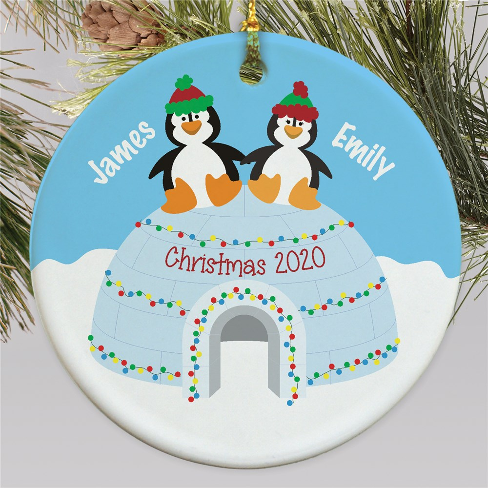 Personalized Penguin Couple Ornament | Personalized Couples Ornament