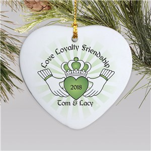 Personalized Ceramic Claddaugh Heart Ornament U741025