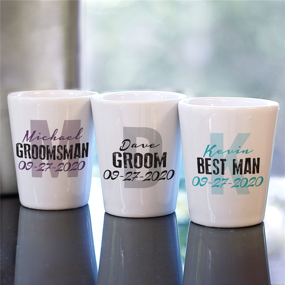 Personalized Wedding Party Initial Shot Glass | Custom Groomsmen Shot Glasses