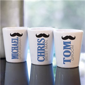 Personalized Mustache Wedding Party Shot Glass | Custom Groomsmen Shot Glasses