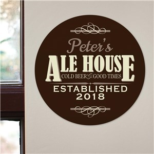 Personalized Ale House Round Wall Sign| Personalized Bar Signs