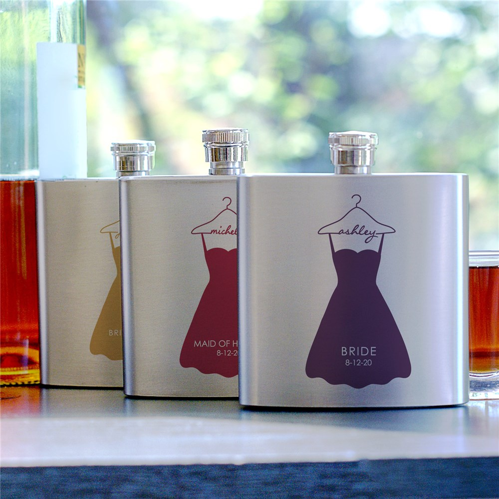 Personalized Bridal Party Dress Flask | Personalized Flasks