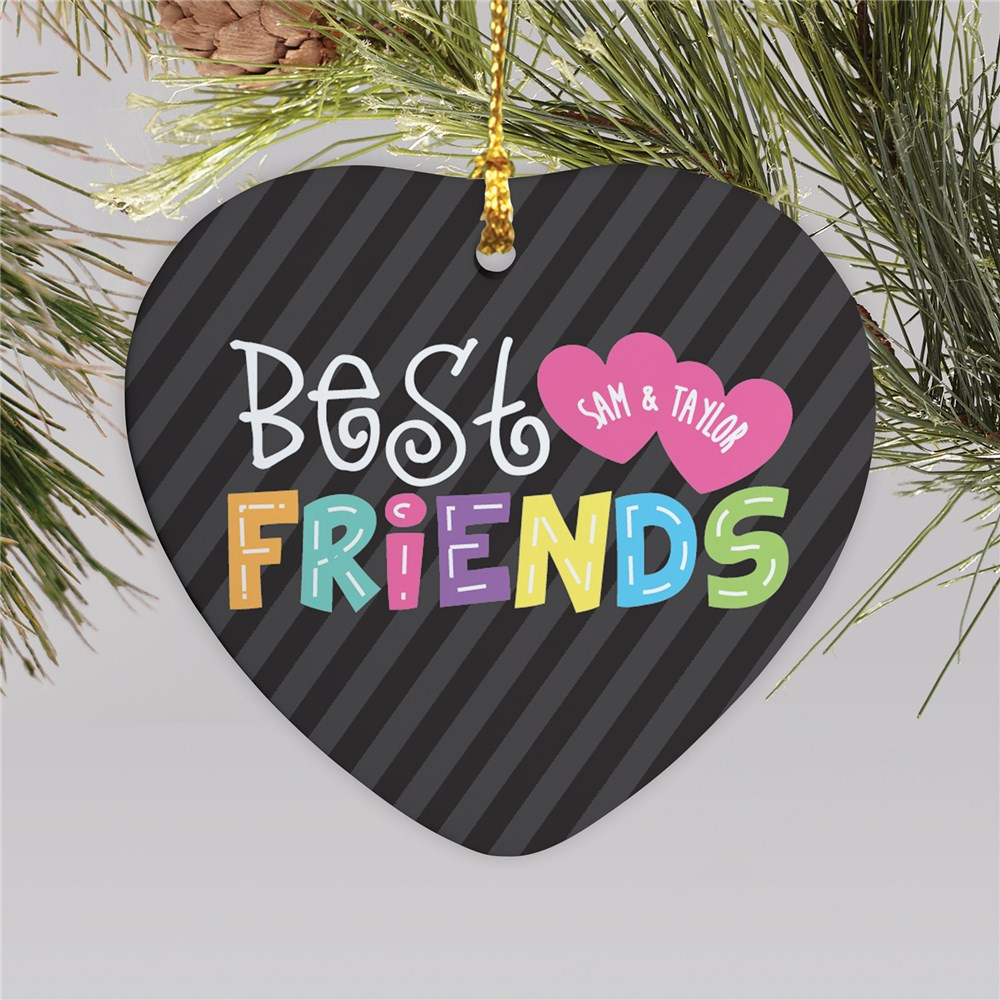 Personalized Best Friends Heart Ornament | Ceramic | Personalized Ornaments