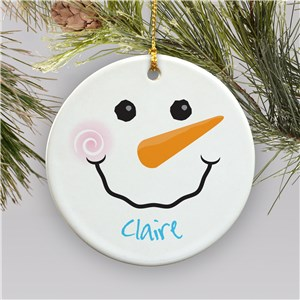 Personalized Snowman Ornament | Ceramic | Personalized Christmas Ornaments For Kids