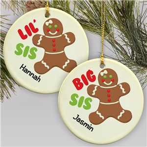 Sister Gingerbread Personalized Ornament | Personalized Family Christmas Ornament