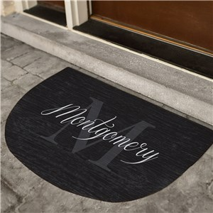 Dark Initial Door Mat | Half Circle Initial Doormat