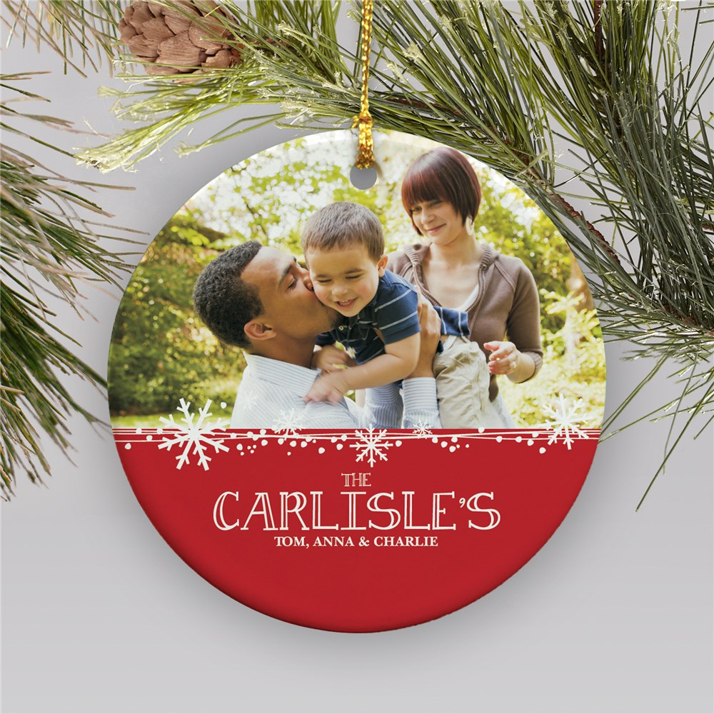 Custom Photo Ornament with Family Name and Photo | Picture Ornaments