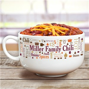 Personalized Family Word-Art Chili Bowl | Personalized Chili Bowl