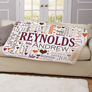 Personalized Family Word-Art Sherpa | House Warming Gifts