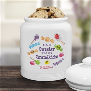 Life Is Sweeter Personalized Ceramic Cookie Jar | Personalized Cookie Jars
