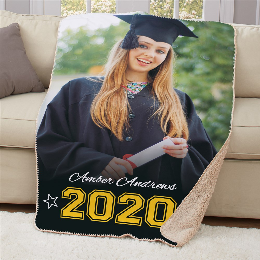 Personalized Graduation Photo Sherpa Throw | Grad Gifts