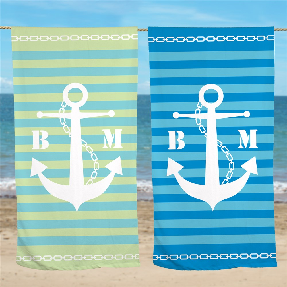 Personalized Anchor Beach Towel | Nautical Beach Towel