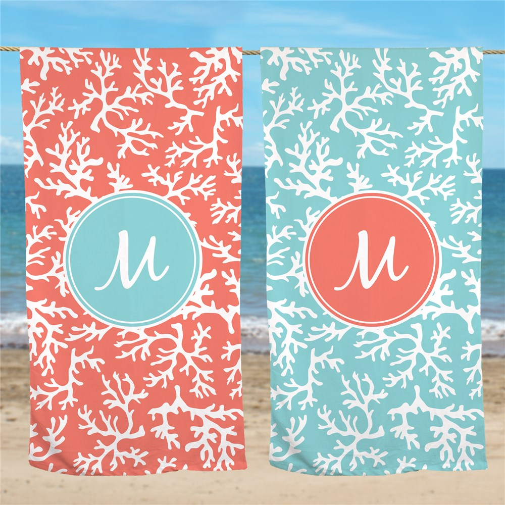 Coral Personalized Beach Throw U945433