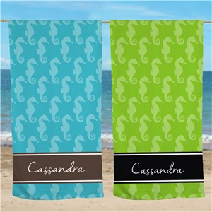 Personalized Seahorse Beach Throw U945533