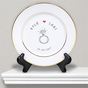 Personalized Engagement Ceramic Plate | Personalized Couple Gifts
