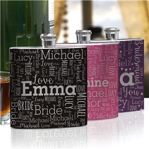 Bridesmaid Word-Art Flask | Personalized Word Art
