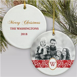 Personalized Family Initial Photo Ornament | Picture Ornament