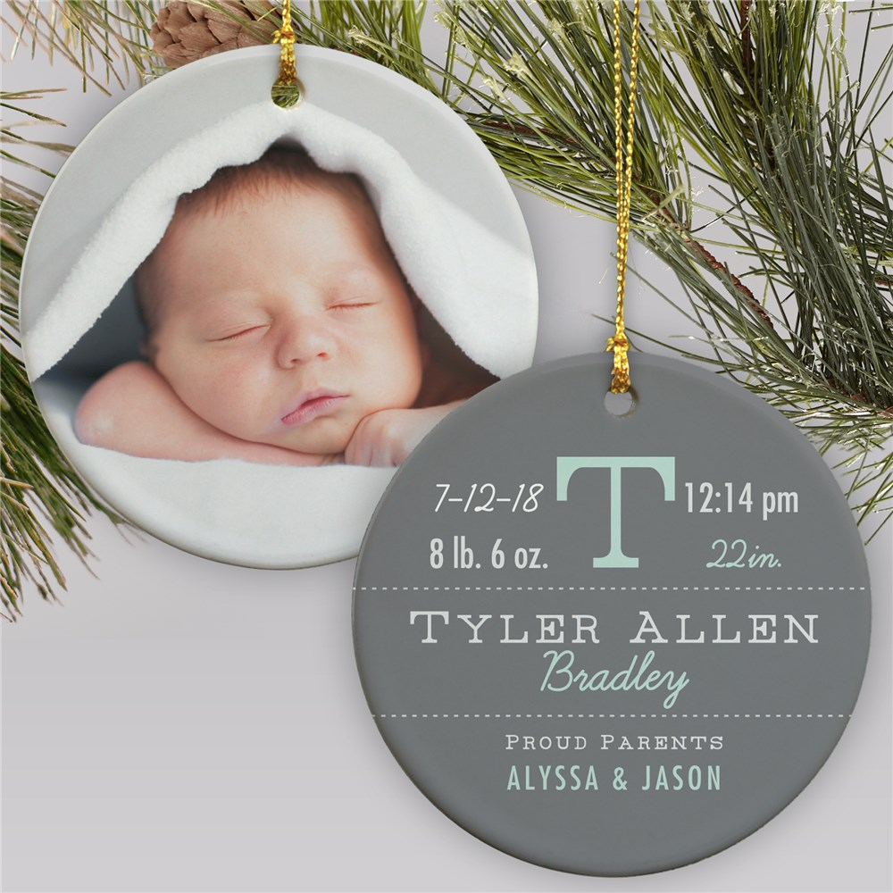 New Arrival Personalized Photo Christmas Ornament | Baby's First Christmas Ornaments