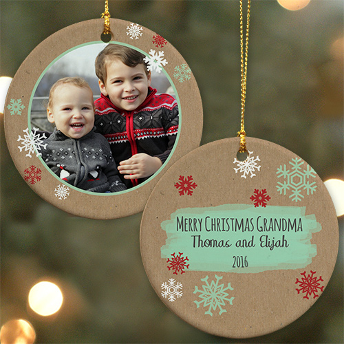 Any Message Personalized Photo Ornament  | Picture Ornaments