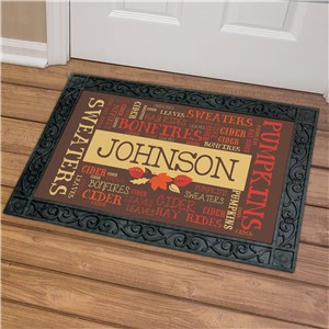 Fall Word-Art Welcome Doormat | Personalized Word Art