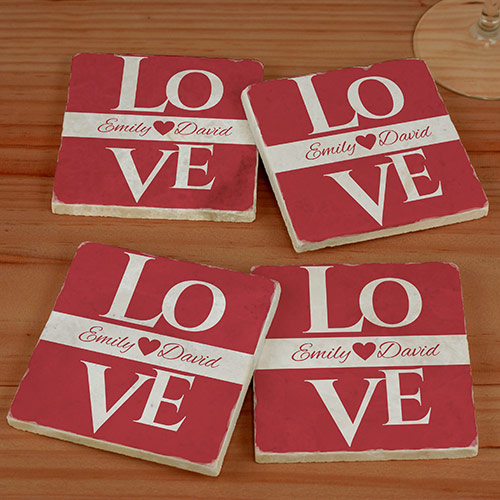 Love Personalized Marble Coasters | Personalized Couple Gifts