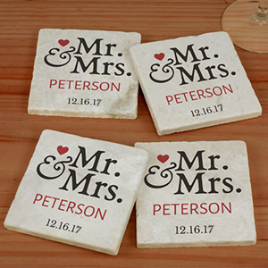 Personalized Mr. and Mrs. Marble Coasters U982586