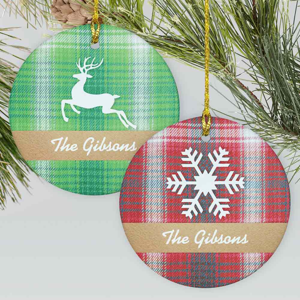Personalized Plaid Christmas Ornament | Personalized Christmas Ornament