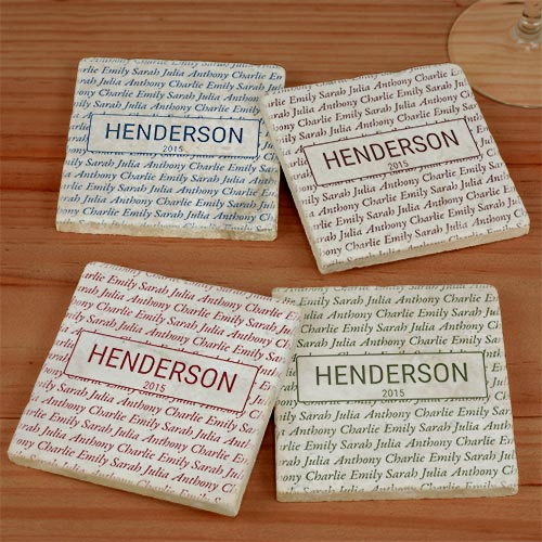 Personalized Our Family Marble Coasters U987186