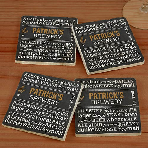 Personalized My Brewery Marble Coasters | Personalized Barware Gifts