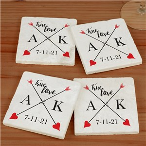 Personalized True Love Marble Coaster Set | Personalized Coasters