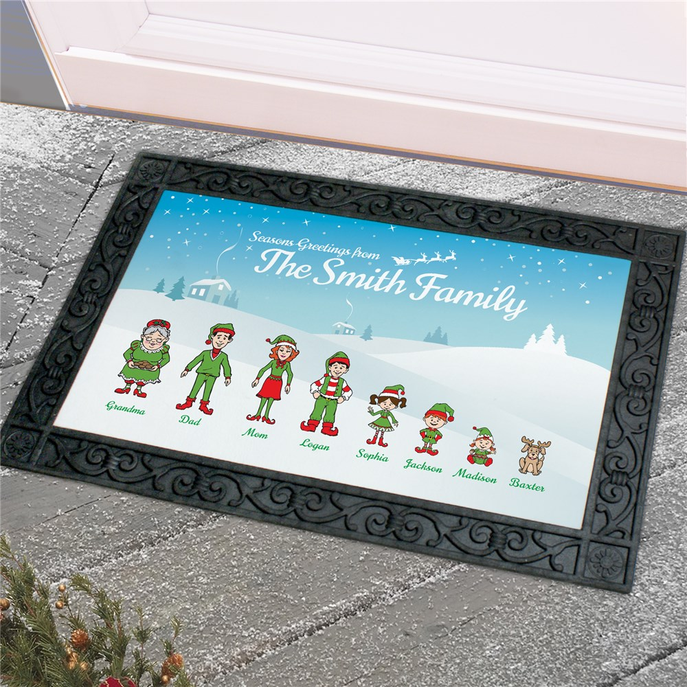 Personalized Holiday Character Doormat | Personalized Christmas Doormats
