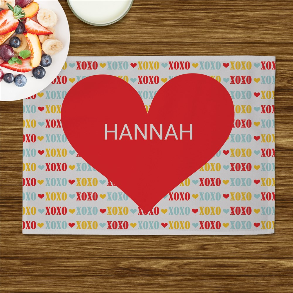 Personalized Red Heart Kids Placemat | Personalized Valentines Day Gifts For Kids