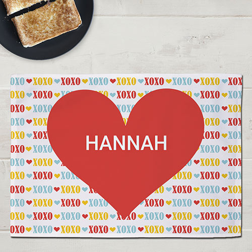 Personalized Red Heart Kids Placemat U999621