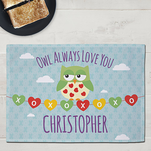 Personalized Owl Always Love You Kids Placemat | Valentine Gifts For Children