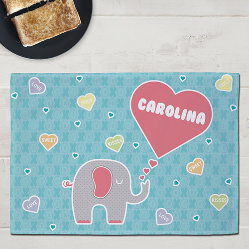 Personalized Elephant Love Kids Placemat | Valentine Gifts For Children