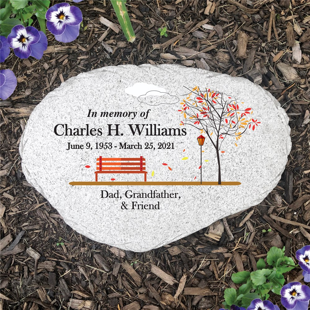 Personalized Empty Bench Memorial Flat Garden Stone