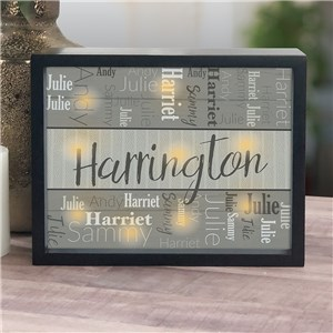 Family Name Gifts | Lighted Shadow Box